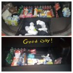 trunk packed with toiletries